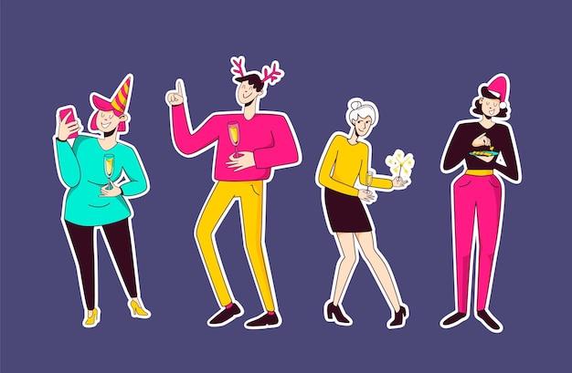Groupe de personnes employé de bureau dansant à la fête du nouvel an