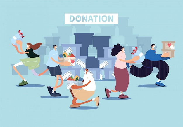 Un groupe de personnes fait un don de charité