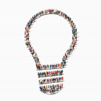 Groupe de personnes forment la lampe