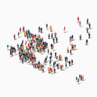 Groupe de personnes de foule formant une carte des îles aland.