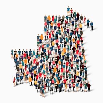 Groupe de personnes de foule formant une carte de la mauritanie.