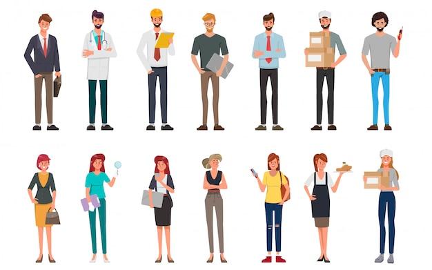 Groupe de personnes groupe d'emplois différents occupation et journée internationale du travail.