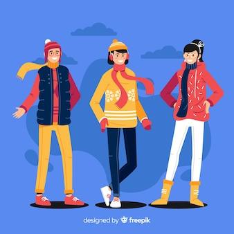 Groupe de personnes en habits d'hiver