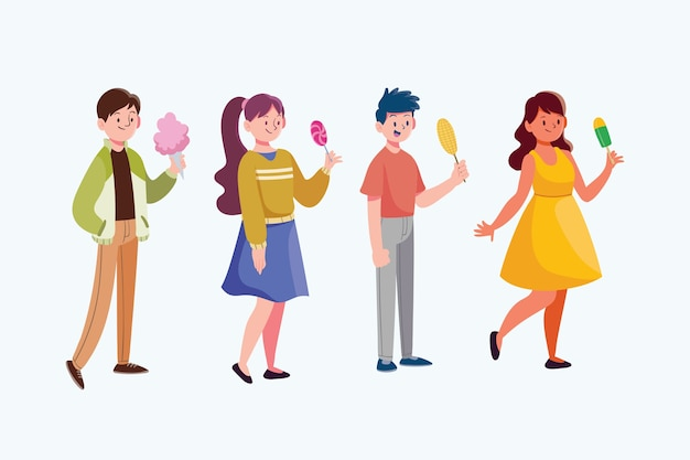 Groupe de personnes avec illustration alimentaire
