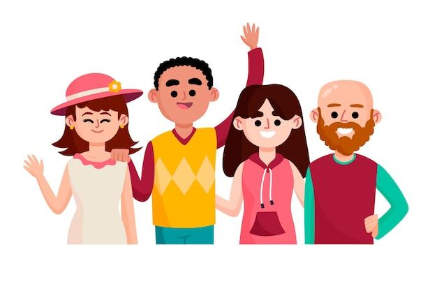 Groupe de personnes illustré