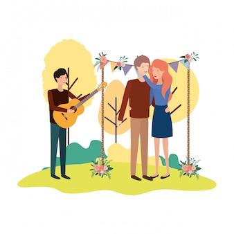 Groupe de personnes avec instrument de musique