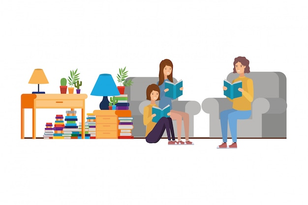 Groupe de personnes avec livre dans les mains dans le salon