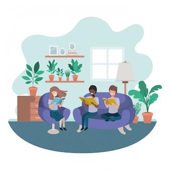 Groupe de personnes avec livre dans le salon personnage avatar