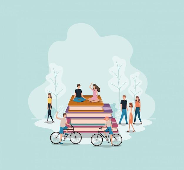 Groupe de personnes avec livres personnage avatar