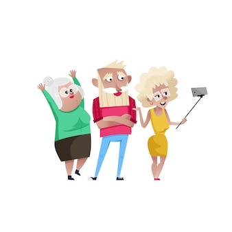 Groupe de personnes matures souriantes faisant selfie