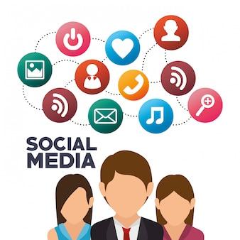 Groupe personnes médias sociaux isolé icône design