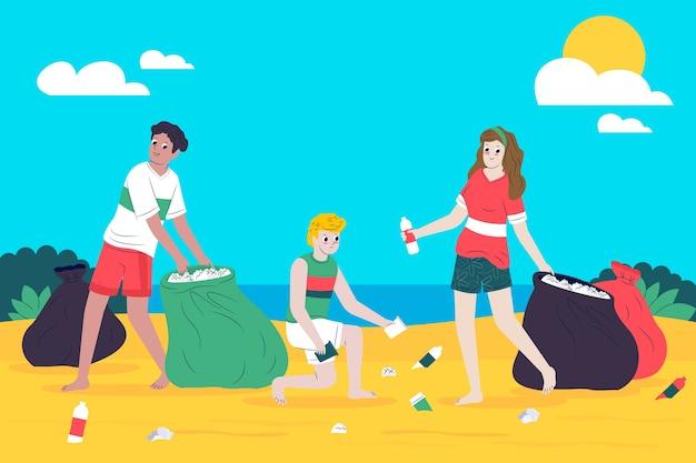 Groupe de personnes nettoyant la plage