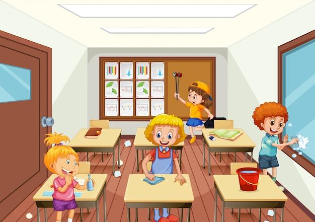Groupe de personnes nettoyant une salle de classe