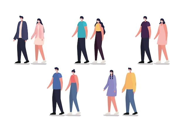 Groupe de personnes occasionnelles avec conception d'illustration de masque de sécurité