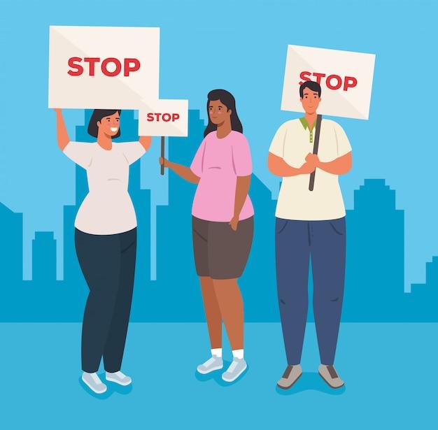 Groupe de personnes avec des pancartes de manifestations, groupe de personnes tenant des bannières, militants avec signe de manifestation de grève, concept de droit de l'homme