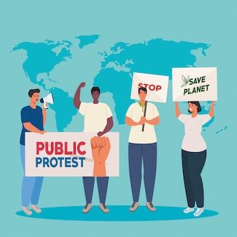 Groupe de personnes avec des pancartes de protestations et carte du monde sur fond, concept de droit de l'homme
