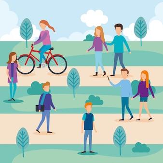 Groupe de personnes sur le parc
