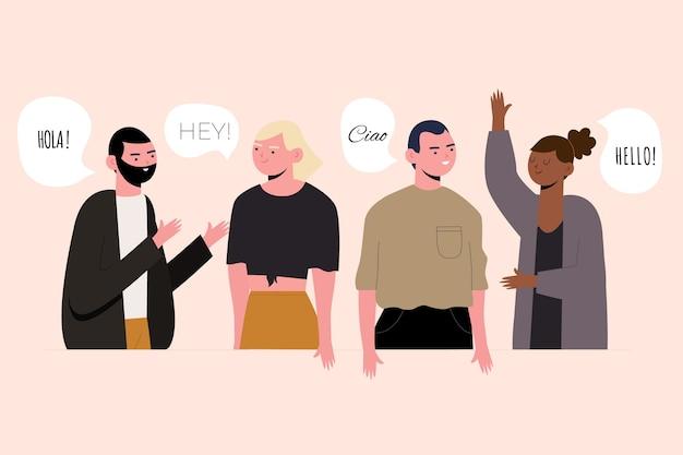 Groupe de personnes parlant dans différentes langues