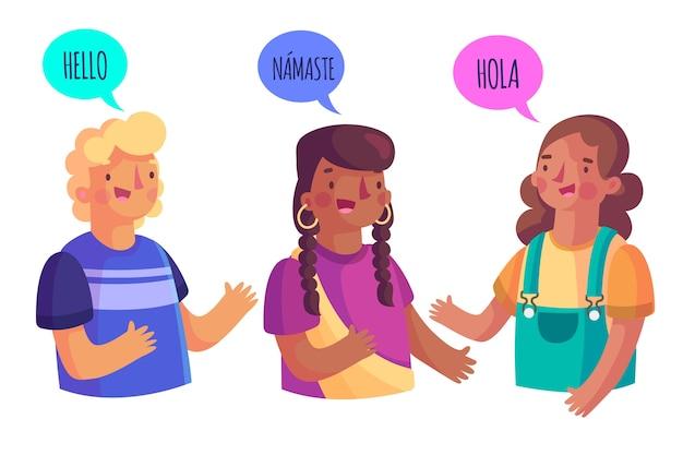 Groupe de personnes parlant différentes langues