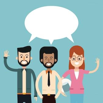 Groupe de personnes parlant discours de bulle de dialogue