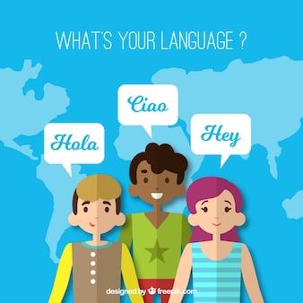 Groupe de personnes parlant des langues différentes avec un design plat