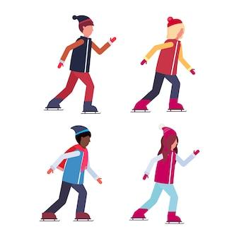 Groupe de personnes patinant
