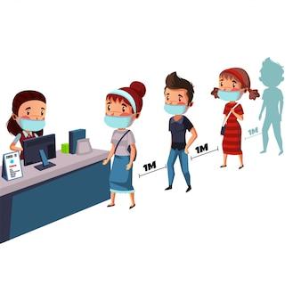 Un groupe de personnes portant un masque a une distance physique pendant que la file d'attente achète des médicaments