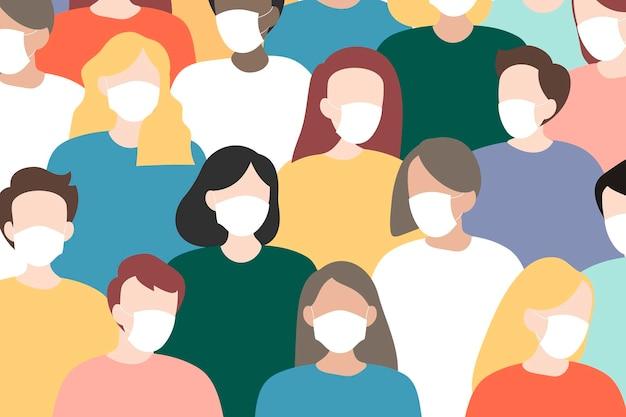 Groupe de personnes portant des masques de protection pendant l'épidémie de covid-19