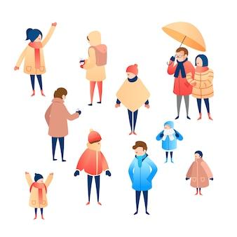 Groupe de personnes portant des vêtements d'hiver