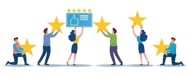Un groupe de personnes porte 5 étoiles et le pouce vers le haut des icônes ensemble concept.