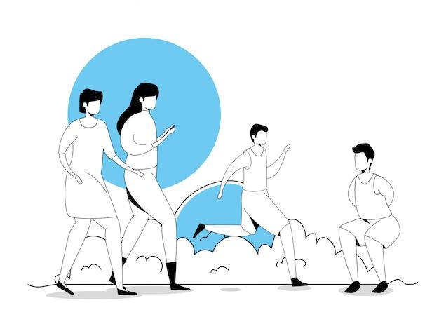 Groupe de personnes pratiquant l'exercice