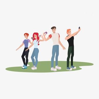 Groupe de personnes prenant selfie