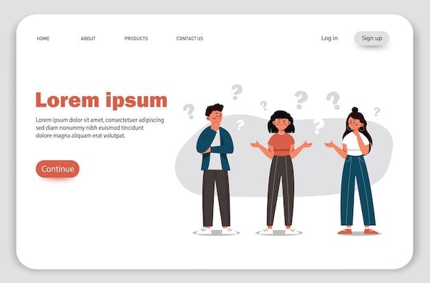 Un groupe de personnes avec des questions illustration de la communication des personnes à la recherche de solutions aux problèmes utilisées dans les projets web et les applications pensée collective
