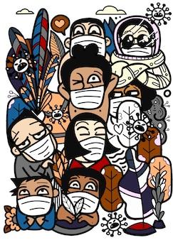Groupe de personnes qui sont anxieuses et craignent à cause du virus corona. illustration du virus corona de wuhan.
