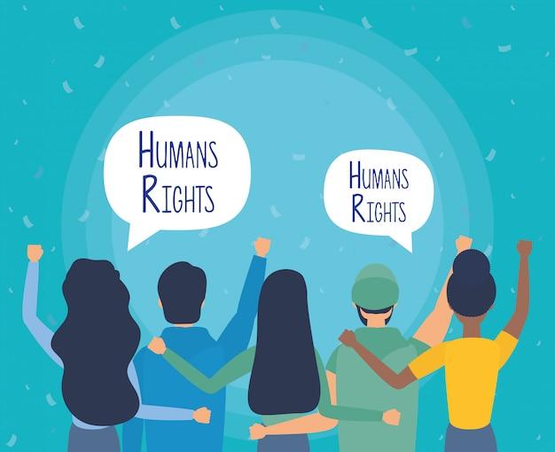 Groupe de personnes de retour avec des bulles des droits de l'homme vector illustration design