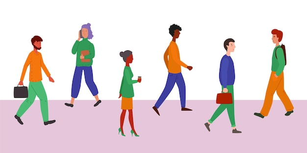 Groupe de personnes retournant au travail