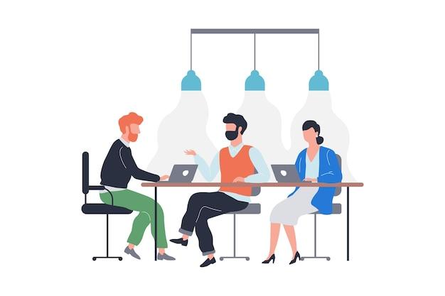 Groupe de personnes en réunion d'affaires. équipe assise