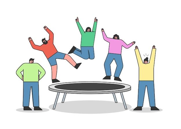 Groupe de personnes sautant sur le trampoline. jeunes personnages de dessins animés s'amusant sur un trampoline de jardin
