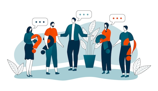 Groupe de personnes avec signe de question fine ligne iolated sur blanc. recherche de solution ou de réponse à un problème, confusion entre hommes et femmes. questions de communication ou de décision en entreprise.