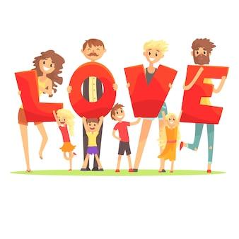 Groupe de personnes souriantes tenant le mot love cartoon illustration colorée