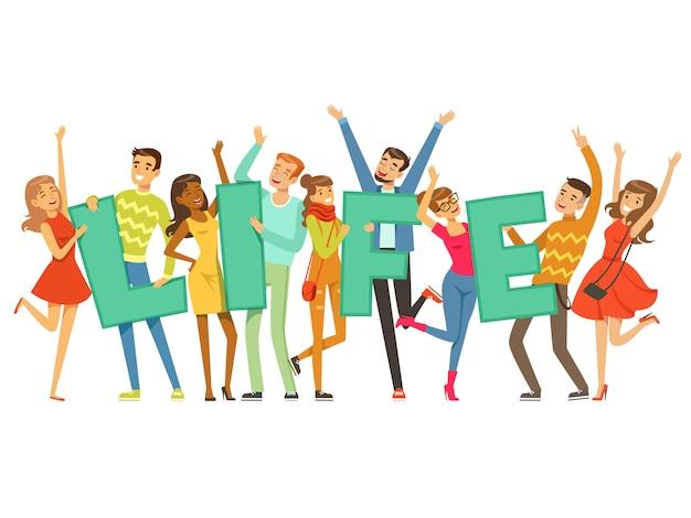 Groupe de personnes souriantes tenant le mot vie dessin animé coloré illustration