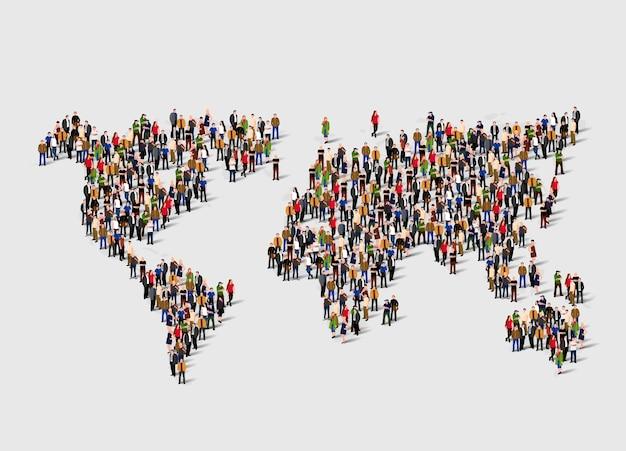 Groupe de personnes sous forme de carte du monde