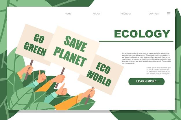 Un groupe de personnes tient un signe de protestation pour sauver la planète eco world passer au vert illustration vectorielle plate