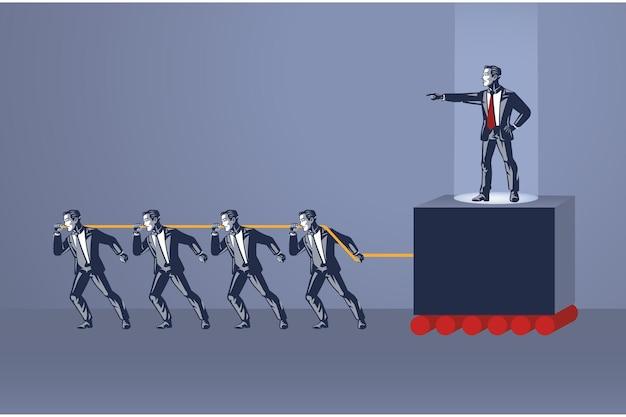 Groupe de personnes tire sur la corde pour déplacer cruel boss blue collar concept
