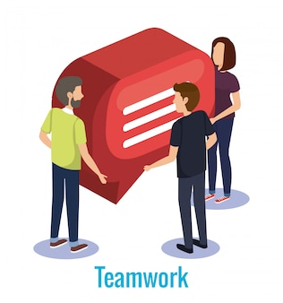 Groupe de personnes travail d'équipe avec bulle de dialogue