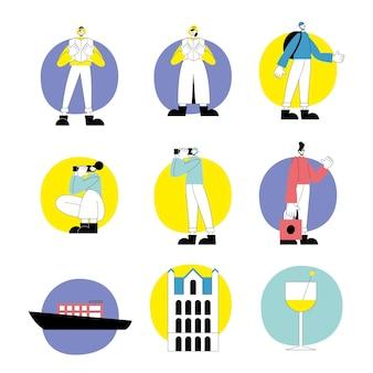 Groupe de personnes en vacances et définir des icônes