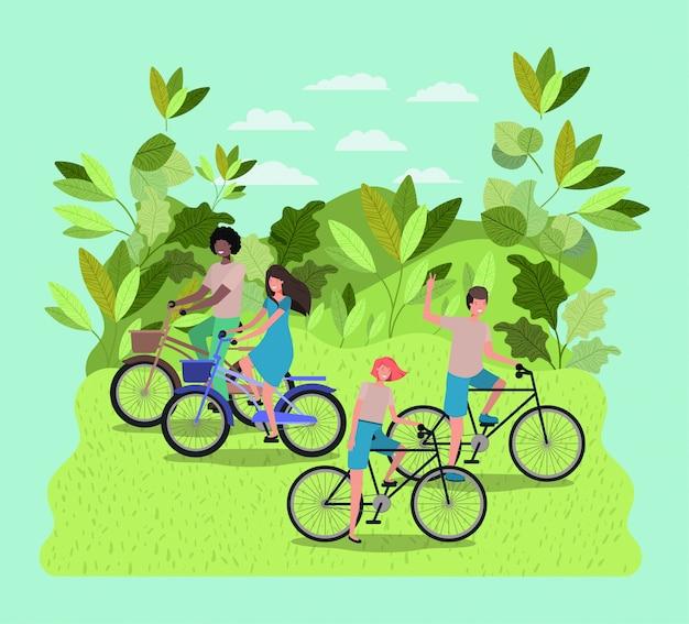 Groupe de personnes à vélo dans le parc
