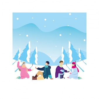 Groupe de personnes avec des vêtements d'hiver dans le paysage avec des chutes de neige