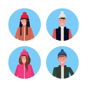 Groupe de personnes en vêtements d'hiver