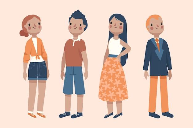 Groupe de personnes en vêtements de printemps